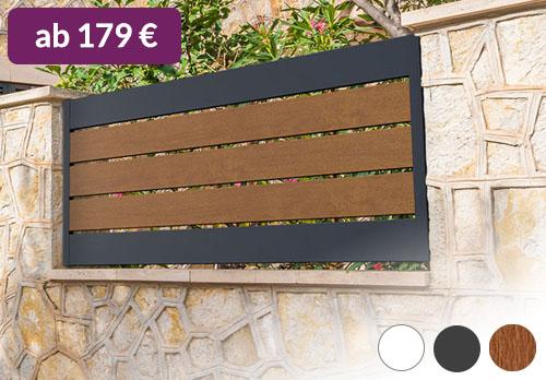 Sichtschutz Kunststoff PVC Spalt Zaun Anthrazit Holzoptik