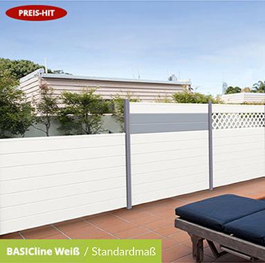 Sichtschutz PVC Kunststoff BASICline Weiß