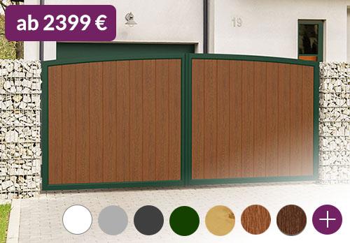 Hoftor Rundbogen/Oberbogen 400x200 Aluminium Kunststoff Holzoptik
