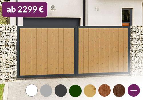 Hoftor blickdicht 400x200 Aluminium Kunststoff Holzoptik