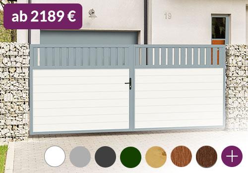 modernes Hoftor Spalt 400x200 Aluminium Kunststoff Weiß Grau