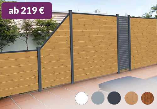 Sichtschutz aus Kunststoff PVC in Holzoptik Astfichte Rhombus Aluminium-Pfosten