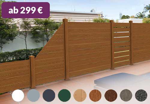 Sichtschutz aus Kunststoff PVC in Holzoptik Golden Oak Spaltsichtschutz