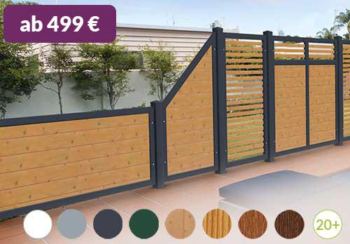 Sichtschutz aus Kunststoff PVC in Holzoptik Astfichte Anthrazit Spaltsichtschutz Design hochwertig