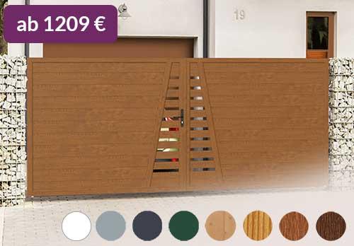 Sichtschutz aus Kunststoff PVC in Holzoptik Golden Oak Sichtschutztor Hoftor