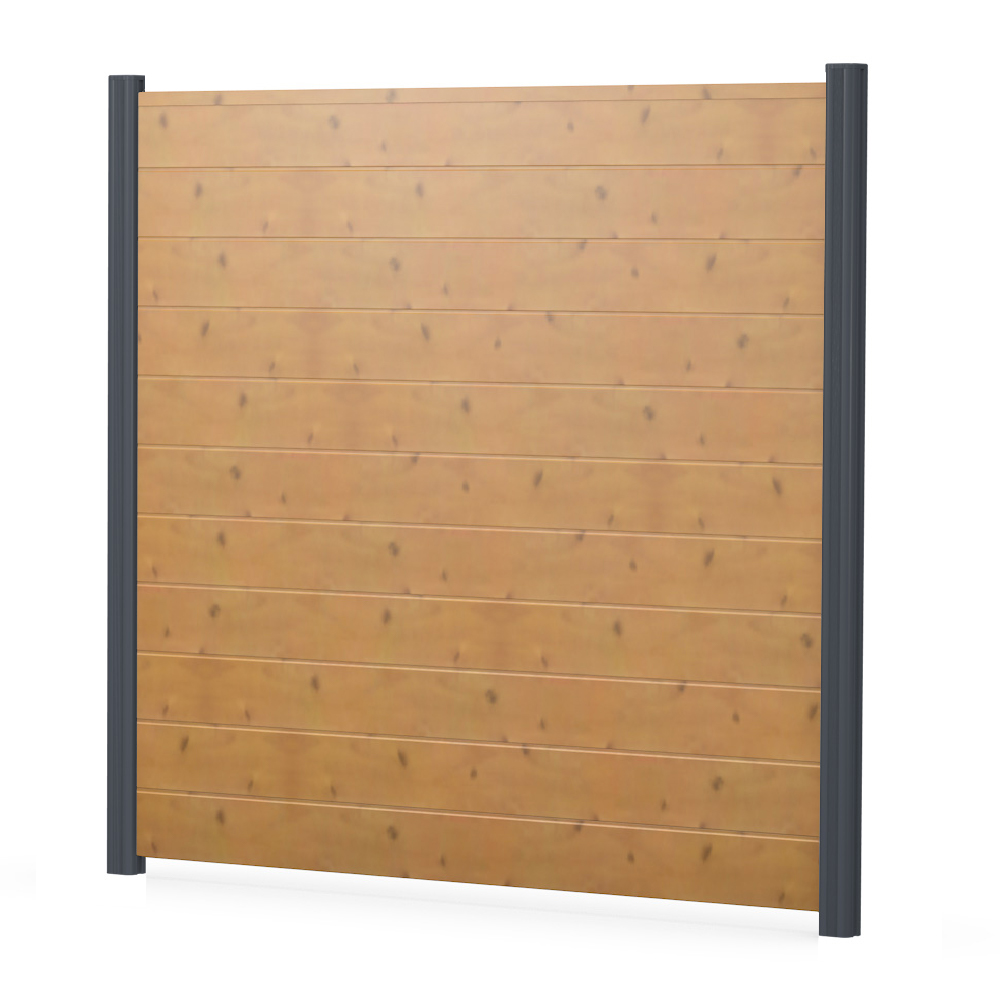 Bild BASICline Sichtschutzelement aus Kunststoff in Holzoptik Astfichte Alupfosten