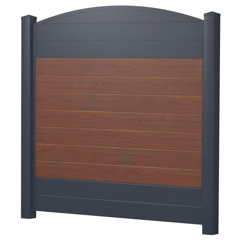 Bild ECOline Sichtschutzelement mit Oberbogen aus Kunststoff in der Farbkombination Holzoptik Nussbaum mit Anthrazit