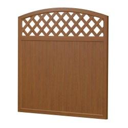 Bild Sichtaflex Sichtschutzelement mit Oberbogen als Rankgitter aus Kunststoff in Holzoptik Golden Oak