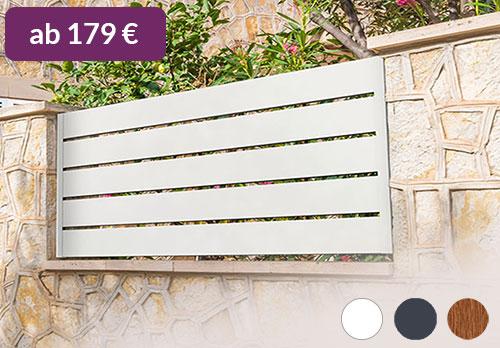 Querlattenzaun oder Spaltsichtschutzzaun in Weiß aus hochwertigen Kunststoff
