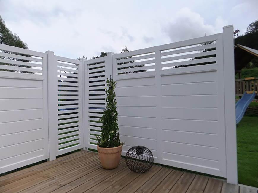 Terrassensichtschutz Kunststoff Terrasse Design Weiß