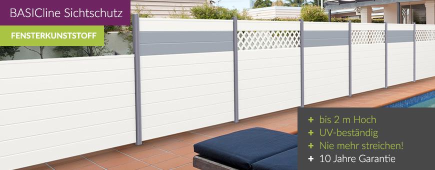 sichtschutz basicline wei sichtschutzzaun. Black Bedroom Furniture Sets. Home Design Ideas