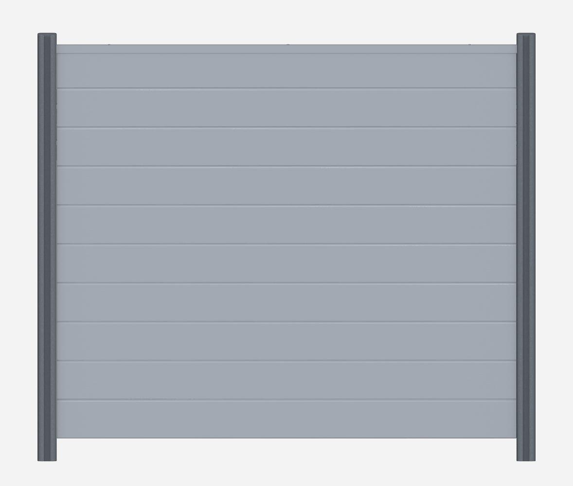 z alt erledigt sichtschutzzaun pvc kunststoff grau basicline element dicht bis 180x200. Black Bedroom Furniture Sets. Home Design Ideas