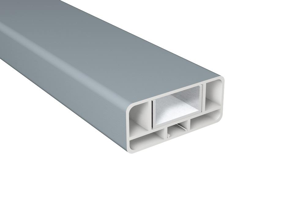 Zaun-Querriegel Kunststoff / B80xT35 inkl. Alu-U-Profil / Silbergrau