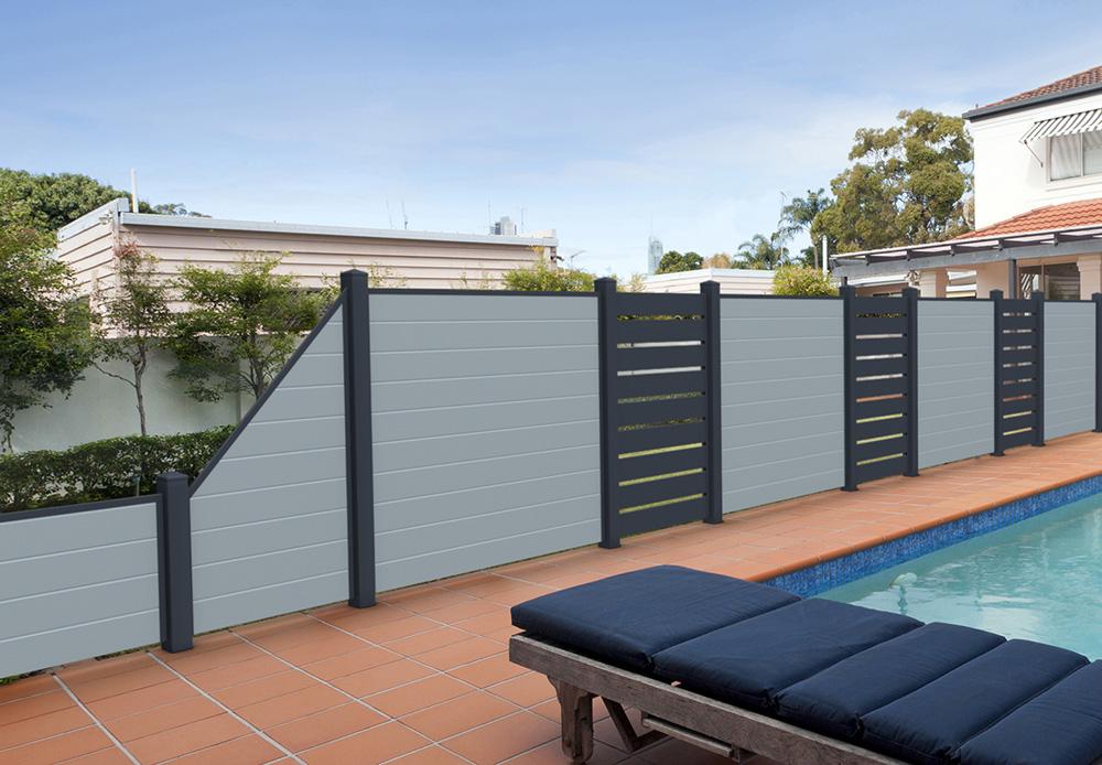 silbergrau anthrazit ecoline sichtschutzzaun kunststoff grau anthrazit ecoline element 90. Black Bedroom Furniture Sets. Home Design Ideas