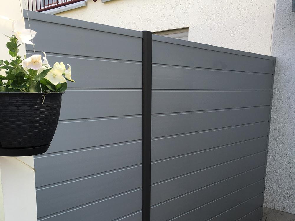 fenstergrau basicline sichtschutzzaun pvc kunststoff grau basicline element dicht bis 183x200. Black Bedroom Furniture Sets. Home Design Ideas