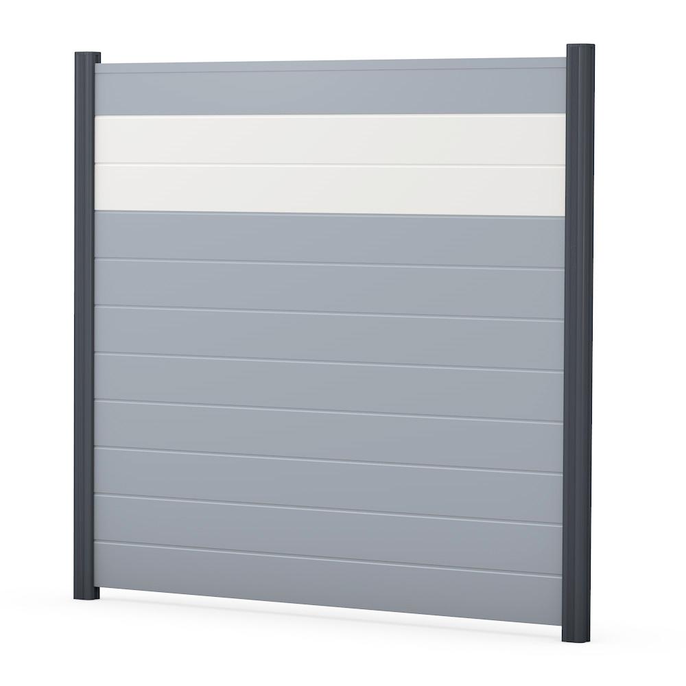 Grau Sichtschutzzaun PVC Kunststoff grau weiß BASICline