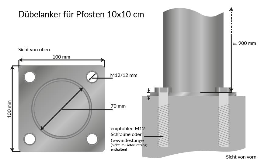 eckig sichtaflex pvc pfosten 10 x 10 inkl pfostenkappe. Black Bedroom Furniture Sets. Home Design Ideas