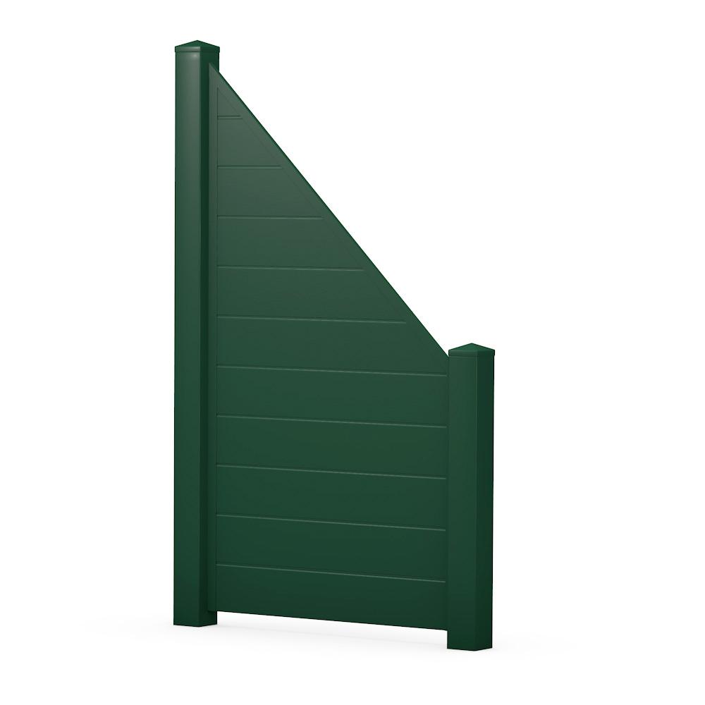Moosgrün Sichtschutzzaun Kunststoff Grün ECOline Element 90 schräg