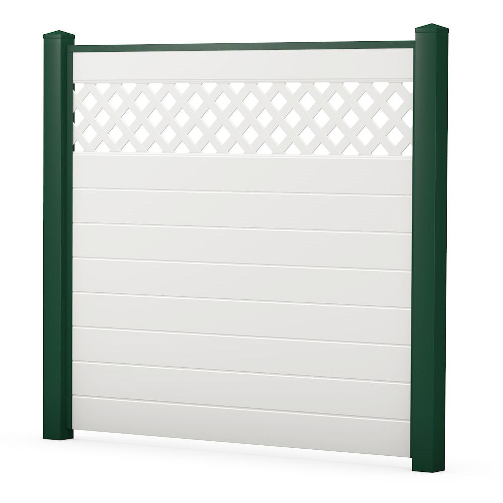 Moosgrün Weiß Sichtschutzzaun Kunststoff weiß grün ECOline