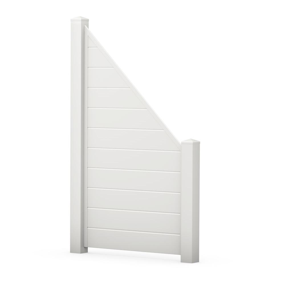 Weiß Sichtschutzzaun Kunststoff weiß ECOline Element 90 schräg