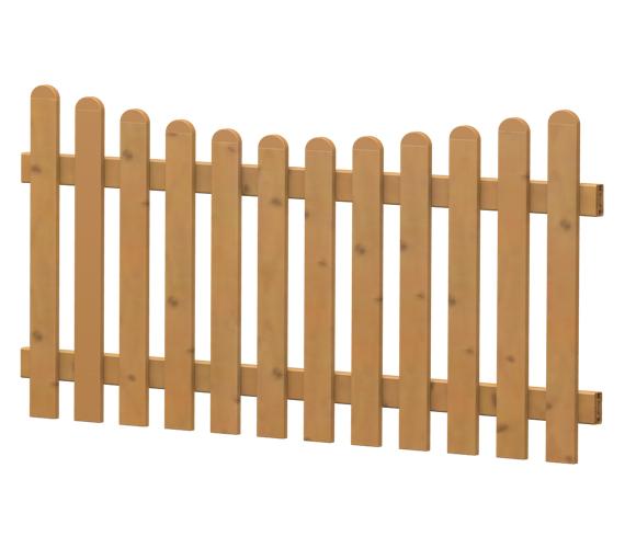 Gartenzaun-Element (Lattenzaun) | PVC-Kunststoff | Unterbogen - Astfichte | BAUSATZ