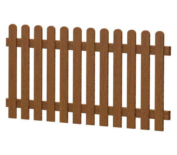 Gartenzaun-Element (Lattenzaun) | PVC-Kunststoff | Gerade - Golden-Oak | BAUSATZ