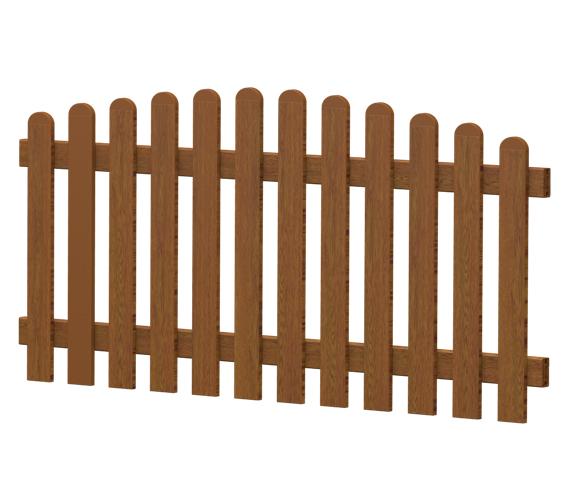 Gartenzaun-Element (Lattenzaun) | PVC-Kunststoff | Oberbogen - Golden-Oak | BAUSATZ