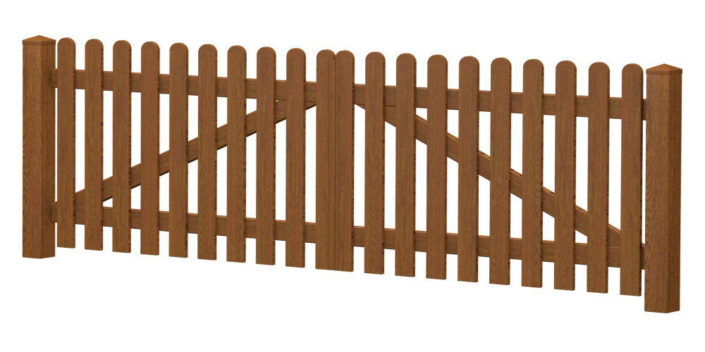 2-Flügel-Gartentor | Kunststoff | gerade | VORMONTIERT - Golden Oak