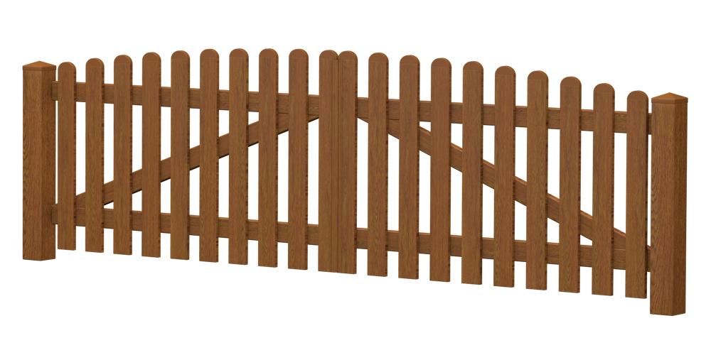 2-Flügel-Gartentor | Kunststoff | Oberbogen | VORMONTIERT - Golden Oak