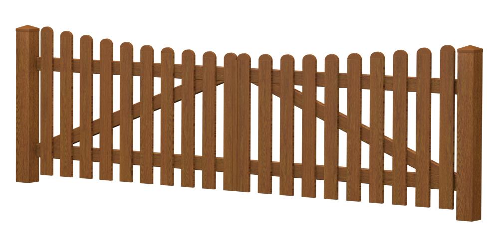 2-Flügel-Gartentor | Kunststoff | Unterbogen | VORMONTIERT - Golden Oak