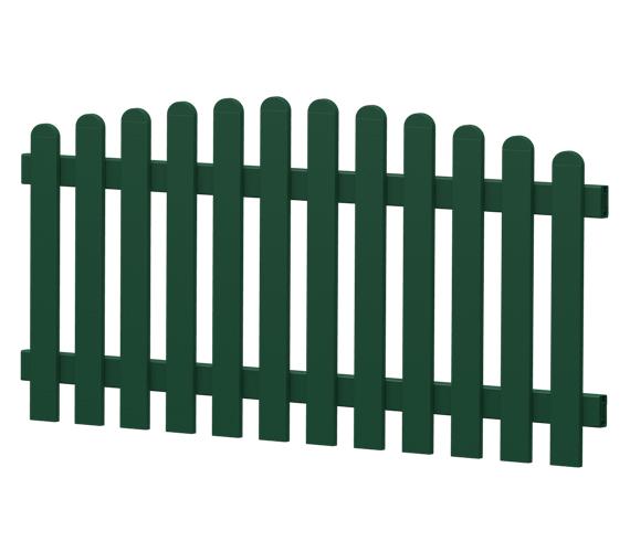 Gartenzaun-Element (Lattenzaun) | PVC-Kunststoff | Oberbogen - Moosgrün | BAUSATZ