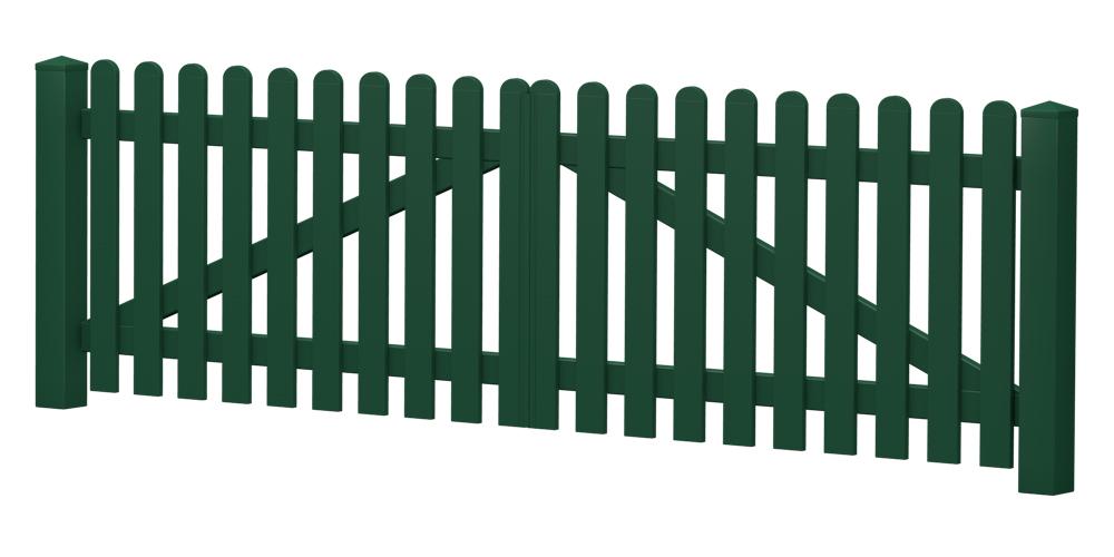 2-Flügel-Gartentor | Kunststoff | gerade | VORMONTIERT - Moosgrün