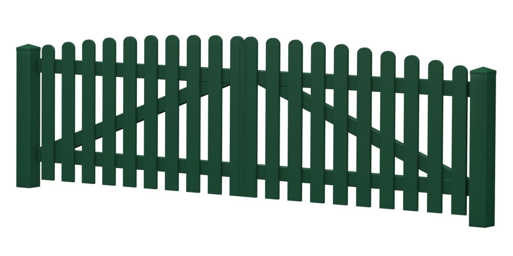 2-Flügel-Gartentor | Kunststoff | Oberbogen | VORMONTIERT - Moosgrün