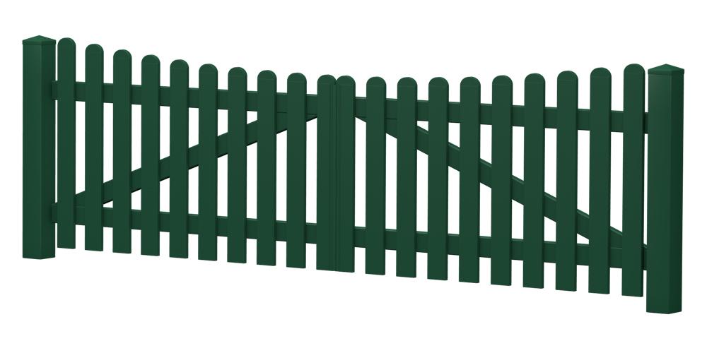 2-Flügel-Gartentor | Kunststoff | Unterbogen | VORMONTIERT - Moosgrün