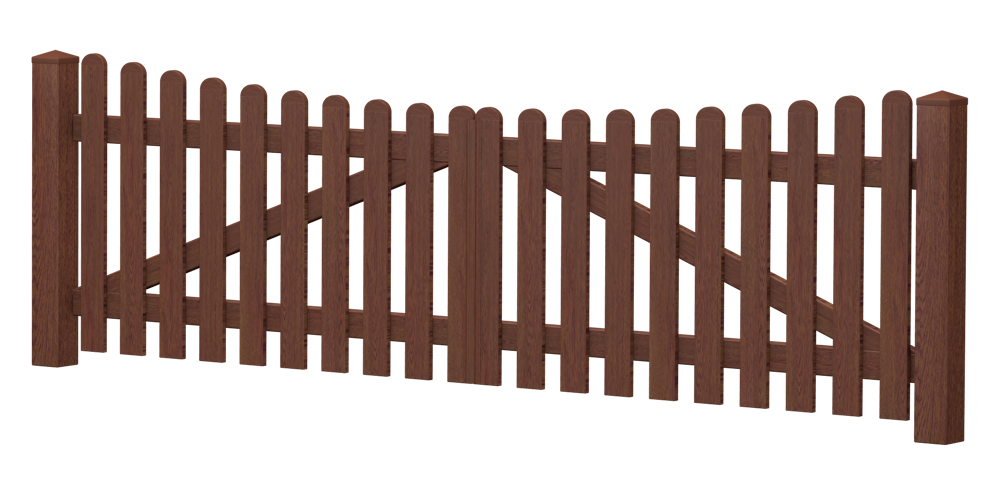 2-Flügel-Gartentor | Kunststoff | Unterbogen | VORMONTIERT - Nussbaum