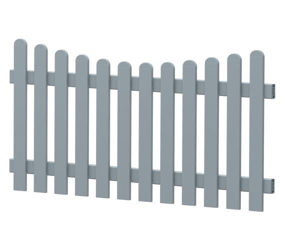 Gartenzaun-Element (Lattenzaun) | PVC-Kunststoff | Unterbogen - Silbergrau | BAUSATZ