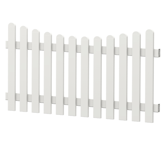 Gartenzaun-Element (Lattenzaun) | PVC-Kunststoff | Unterbogen - Weiß | BAUSATZ