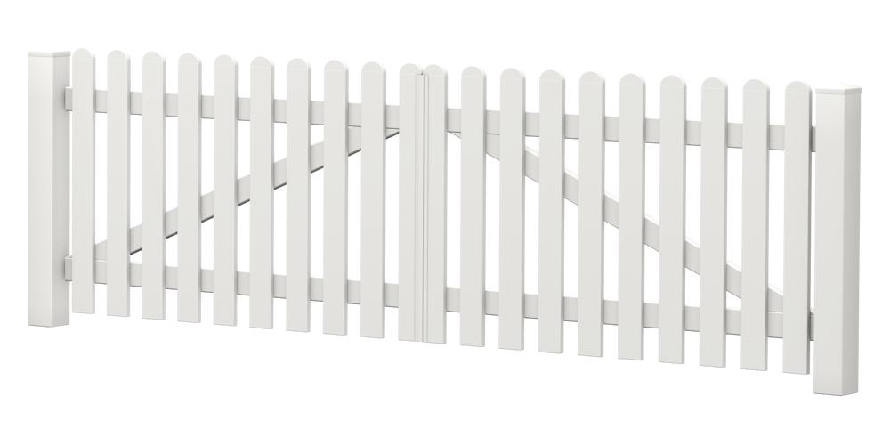 2-Flügel-Gartentor | Kunststoff | gerade | VORMONTIERT - Weiß