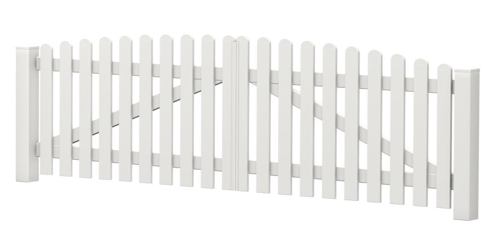 2-Flügel-Gartentor | Kunststoff | Oberbogen | VORMONTIERT - Weiß