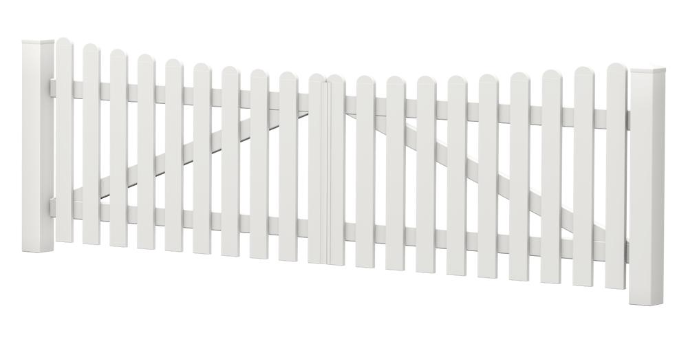 2-Flügel-Gartentor | Kunststoff | Unterbogen | VORMONTIERT - Weiß