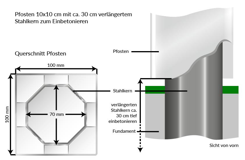 Erstaunlich Sichtaflex eckig : PVC Pfosten 10 x 10 | inkl. Pfostenkappe WM43