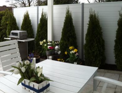 kunststoffsichtschutz silbergrau zwischen steins ulen. Black Bedroom Furniture Sets. Home Design Ideas